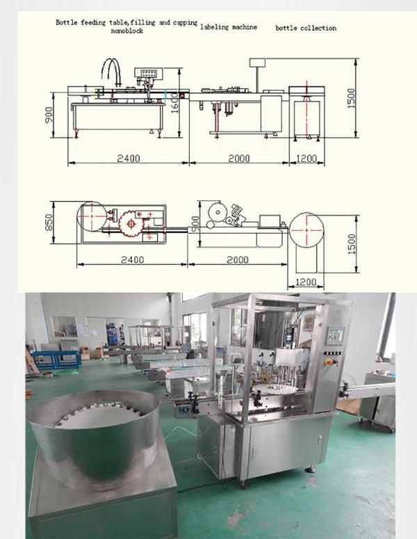 Linia produkcyjna do napełniania fiolek z płynem z korkiem
